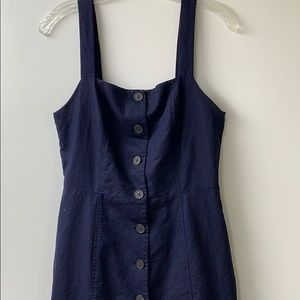 Gap Navy Blue Sleeveless Button Front Apron Dress